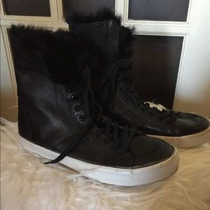 Rebecca Minkoff Sasha Rabbit Fur Leather Sneaker
